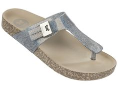 Fashion Silver Glitter   Comfort is the key word for this T.bar sandal, especially due to its anatomic sole. Glitter on the upper and contrasting cork sole makes it very charming, and the look is finished with a Zaxy silver butterfly clasp.