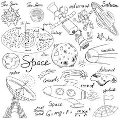 hand drawn sketch with solar system, planets meteors and comats, sun and moon, radar, astronaut rocket and stars. Doodle Art Posters, Doodle Art Journals, Easy Doodle Art, Doodle Art Designs, Zentangle Drawings, Zentangle Patterns, Drawing Of Solar System, Journal Ideas Smash Book, Space Doodles