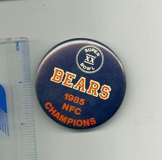 1985 Chicago Bears Superbowl XX NFC Champions pin pinback button