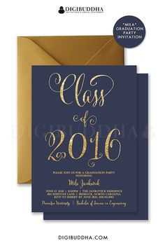 Navy and gold glitter graduation invitations in navy blue and gold glitter look calligraphy.  Perfect for high school graduation, college graduation, choose from ready made printed invites with envelopes or printable graduation invitations.  Gold shimmer envelopes also available.  digibuddha.com