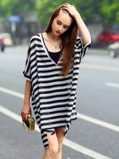 Monochrome Stripe,V-neck,Dipped Hem,Tie Waist,Dress And Vest