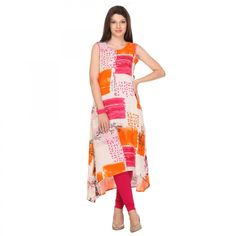 Buy White Sleeveless Printed Kurti for womens online India, Best Prices, Reviews - Peachmode