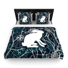 Kess InHouse Anchobee Hare Blue White Round Beach Towel Blanket