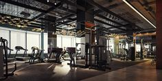 YES! YES! YES! I LOVE THE LIGHTING, MIRRORS ON PILLARS, EQUIPMENT ARRANGEMENT PALESTRA fitness club