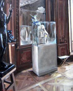 LE MIROIR AU MUSEE RODIN Huile sur toile 116 x 89 cm Christoff Debusschere