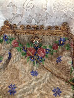 Spectacular and Rare Antique Micro Beaded Victorian (1837-1901) Evening Bag Featuring Venetian Beads and Swan Frame.