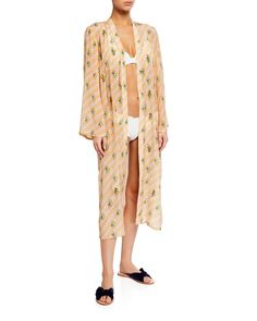 Floral Bulb Kimono Cardigan Duster Kaftan Plus Hippy Jacket Cover Top up to 5X