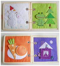 Color quiet book. Different pieces fit in a pocket in the back and then velcro to the pages for color matching.