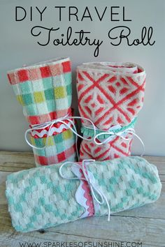Make travel easy with this DIY travel toiletry roll tutorial. Learn how to turn a hand towel into a pretty travel toiletry kit today!