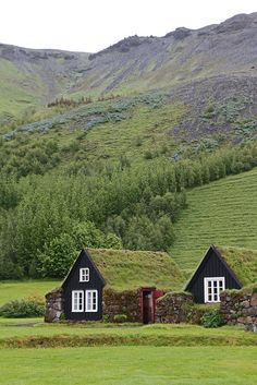 Traditional turf farmhouses in Skógar, Southwest Iceland