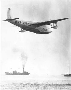 Imperial Airways Short S.23 Empire (or: 'C-') Class flying boat 'Cassiopeia' G-ADUX (c/n: 815) over Southampton Water.