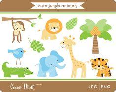 Cute Jungle Animals Clip Art от cocoamint на Etsy, $5.00