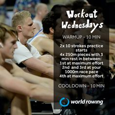 Try this indoor rowing workout! Rowing Workout, Indoor Rowing, Maximum Effort, Wednesday Workout, Workouts, World, Fitness, Body Sculpting Workouts, Exercise Workouts