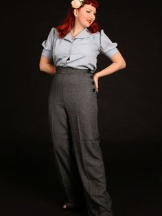 1940s Vintage Style Grey Draped Swing Trousers