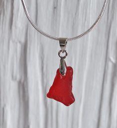 Ruby Red Ruby Red, Glass Pendants, Sea Glass, Pendant Necklace, Jewelry, Jewlery, Bijoux, Jewerly, Jewelery
