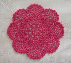 Petite Pineapple Doily - hot pink 4 ply cotton by thornberry, via Flickr