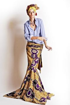 Inspirational designer Stella Jean ~ gorgeous African inspired skirts paired with chambray Fashion Week, Look Fashion, High Fashion, Womens Fashion, Fashion Trends, Fashion Spring, African Inspired Fashion, Ethnic Fashion, African Fashion