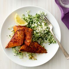 Blackened #Fish with Green Rice Recipe #MyPlate #Protein #Vegetables #Grains
