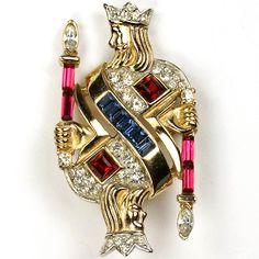 Trifari 'alfred Philippe' King Of Diamonds Playing Card Pin