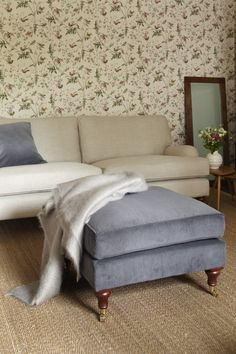 The sofa.com Bluebell footstool in Mouse corduroy -$500