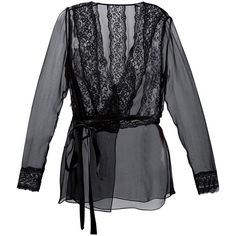 Dolce & Gabbana sheer wrap blouse (4 300 BGN) ❤ liked on Polyvore featuring tops, blouses, black, v neck blouse, black long sleeve top, see through blouse, wrap blouse and black top