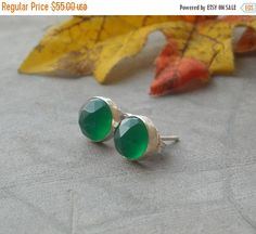 Green earrings  Small studs  Round studs  Chalcedony by Studio1980