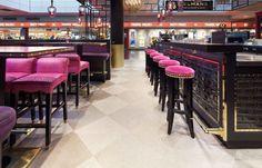 Bolon flooring in Selmans Restaurant and Bar at Munich Airport Bolon Flooring, Vinyl Flooring, Chicharrones, Floor Space, Luxury Interior, Restaurant Bar, Bar Stools, Munich, Projects