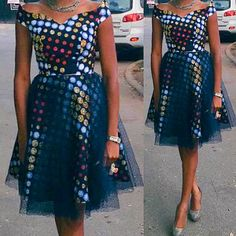 Ese African print Tulle dress tulle netting by CoCoCremeCouturier
