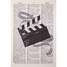 Movie Clapperboard and Film Print on Vintage Book Page Book Page Art, Book Pages, Camera Drawing, Film Photography Tips, Movie Decor, Newspaper Art, Cinema, Photo Wall Collage, Tattoos
