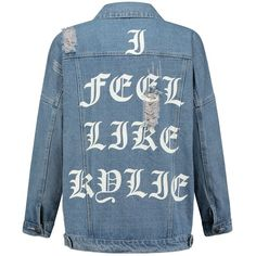 KYLIE JACKET ($53) ❤ liked on Polyvore featuring outerwear, jackets, denim jacket, blue denim jacket, sexy jackets, blue jackets and oversized denim jacket