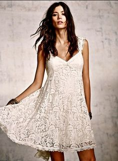 NEW  Free People Dress  ivory Creme de la Creme babydoll lace  10  $300 #FreePeople #babydolldress #Festive