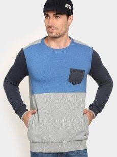 abof Men Blue & Grey Melange Regular Fit Sweatshirt Ocr B, All About Fashion, Blue Grey, Men Sweater, Sweatshirts, Fitness, Sweaters, Men's Knits, Trainers