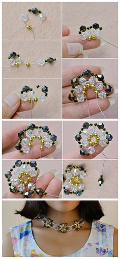 #Beebeecraft shows u how to make a #Charming Glass #BeadedFlower #Statement #Necklace with #RibbonStrand