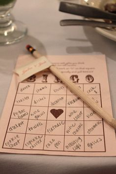 Bridal shower game - Bingo- as the bride opens gifts, guests can mark off the items they have written on their personalized bingo boards.