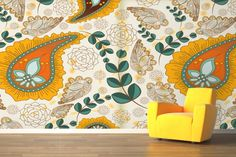 Funky patterns with vibrant colours make this a super unique and cheerful wallpaper design.