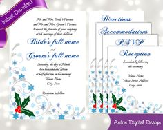 Holly Snowflake Swirl Winter Wedding Invitations - Edit and Print at Home - Free Thank You Cards Included by AntonDigitalDesigns on Etsy