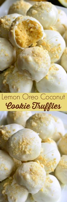 Lemon Oreo Coconut Cookie Truffles. These truffles are made with lemon Oreo cookies, lemon zest, coconut, and then covered in white chocolate coating.