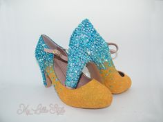 Turquoise Blue rhinestones and Orange glitter two tone ombre block Mary Jane high heels Bridal Wedding Unique shoes one of a kind heels Bling Heels, Glitter High Heels, Bridal Heels, Wedding Heels, Orange Heels, Orange Glitter, Unique Shoes, Mother Of The Bride, Pumps