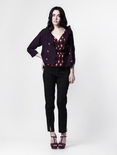 Colleen Jacket in Amethyst Wool + Norwood Blouse  in Amethyst Marquee Print Silk + Cigarette Pant by LEONA
