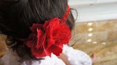 Red Fabric Flower Headband Baby Barrettes Baby by MiShaMeDesigns, $10.00