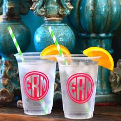 Colorful Personalized Monogram Party Cups!  These clear plastic cups are perfect for weddings and parties - choose from dozens of colors, fonts and designs!