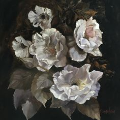 WILDROSES 122x122 oil on linen Diana Watson painting Available at www.antheapolsonart.com