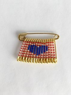 Fourth of July Pin USA Heart Pin Teacher Gift Handmade Pin Beaded Flag Pin Gift for Her Veterans Gift Beaded Brooch Beaded Lapel Pin by FlagPinsbyAnnette on Etsy Safety Pin Art, Safety Pin Crafts, Safety Pin Jewelry, Safety Pin Earrings, Safety Pins, Safety Pin Bracelet, Handmade Birthday Gifts, Handmade Gifts, Flag Pins