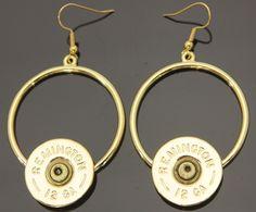 Shotgun Circle Dangle Gold Earrings