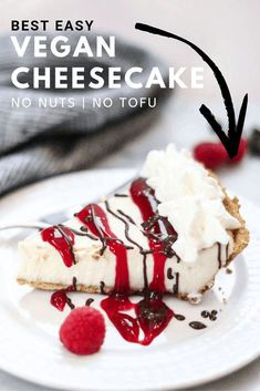 If you've been looking for the best easy vegan cheesecake recipe this is it! Tastes 'real' requires little mess and no stress (can be made in a blender with electric beaters) and has all the rich creamy cheesecake decadence you could ever dream of! Healthy Vegan Dessert, Cake Vegan, Vegan Dessert Recipes, Vegan Treats, Vegan Snacks, Vegetarian Recipes, Recipes Using Vegan Cream Cheese, Vegan Cheesecake Recipes, Dairy Free Cheesecake