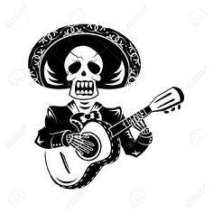 18366306-Mariachi-guitar-player-for-Day-of-the-Dead-Stock-Vector-skull.jpg (1300×1300)