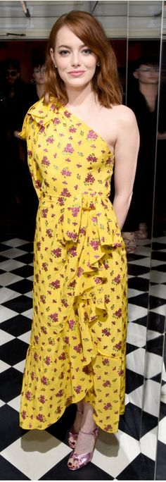 Who made  Emma Stone's pink sandals and yellow print dress?