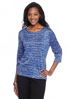 Alfred Dunner Keep It Modern Embellished Neck Space Dye Top