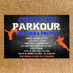 Customized Parkour Birthday Party Invite Digital by CK5Designs1