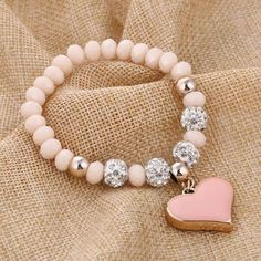 Beaded Jewelry Heart Charm Pendant Bracelet - 12 Colors - Product Information: Type: Bracelets Material: Crystal, Alloy Feature: Charm pendant Size: Approx. - circumference Package Includes: 1 x Heart Charm Pendant Bracelet Jewelry Accessories, Jewelry Design, Women Jewelry, Fashion Jewelry, Jewelry Shop, Luxury Jewelry, Fashion Fashion, Trendy Fashion, Fashion Outfits